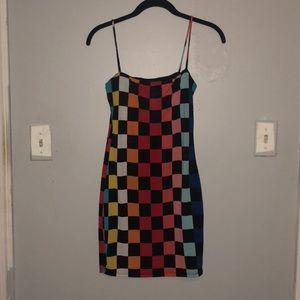 Multicolored checkerboard bodycon dress